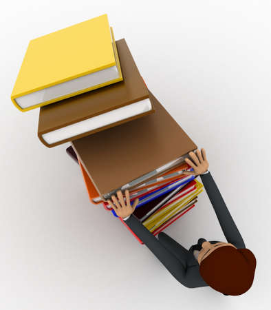 man pushing: 3d man pushing pile of books and books are falling concept on white background, top  angle view