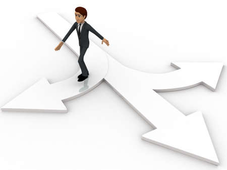 choose a path: 3d man choose from three different path and on arrow concept on white background, top angle view