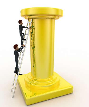 tall man: 3d man climb tall golden pillar using ladder concept on white background, side angle view