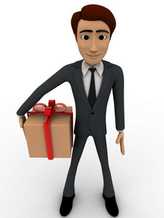 gift wrapped: 3d man with wrapped gift box concept on white background, front angle view