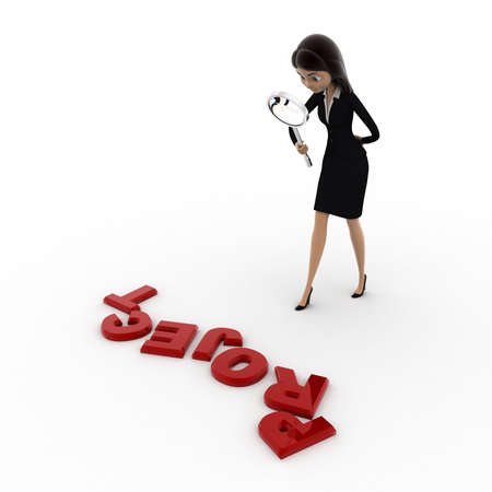 examine: 3d woman examine project using magnifying glass concept on white background, side  angle view Stock Photo