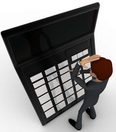 account executive: 3d man confused while calculating accounts on calculator concept on white background, top   angle view