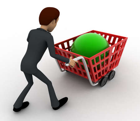 back view man: 3d man with red shopping cart and green sphere in it concept on white background, back angle view Stock Photo