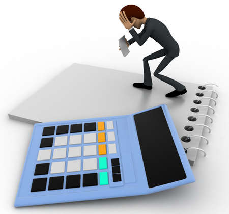 account executive: 3d man in stress while reading bill accounts concept on white background,  side angle view