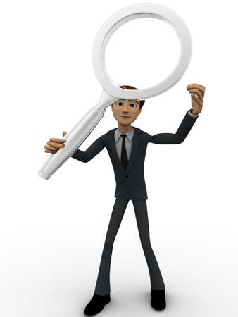 through: 3d man searching and looking through magnifying glass concept on white background, front angle view