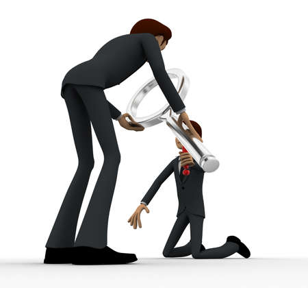 examine: 3d man examine man using magnifying glass concept on white background, side angle view