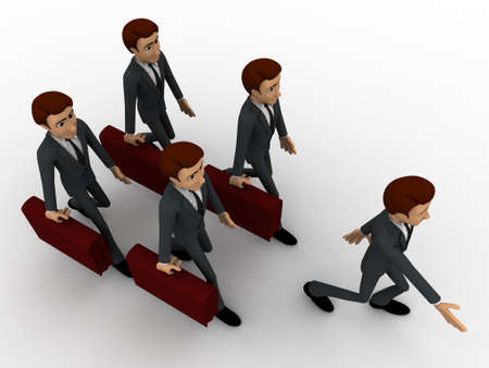 while: 3d men doing parad while going to office concept on white background, top angle view Stock Photo