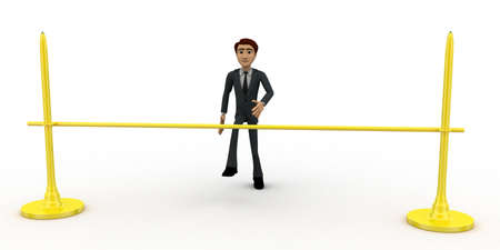 easily: 3d man jumping and crossing barrier easily concept on white background, front angle view
