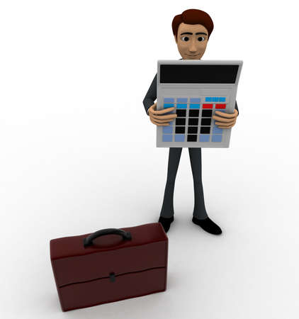 top angle view: Hombre 3d con la calculadora y el concepto malet�n sobre fondo blanco, �ngulo de vista superior