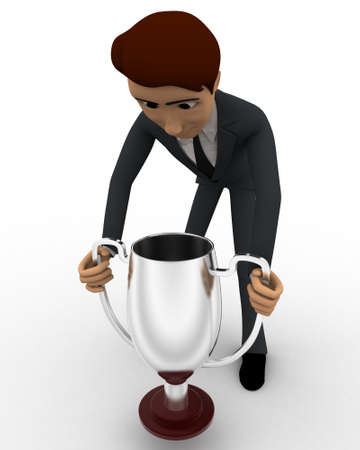 carry on: 3d man carry up silver winner cup award concept on white background, front angle view