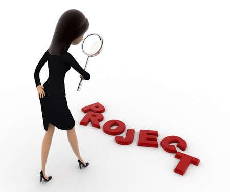 examine: 3d woman examine project using magnifying glass concept on white background, back angle view Stock Photo