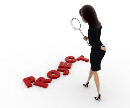 examine: 3d woman examine project using magnifying glass concept on white background, front angle view