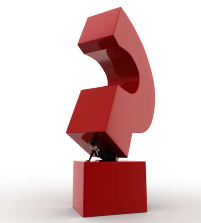 under view: 3d woman under pressure of big question mark concept on white background, front angle view
