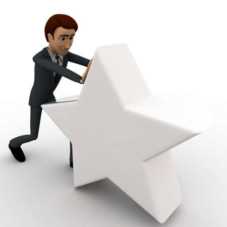 man pushing: 3d man pushing white star concept on white background, front  angle view Stock Photo