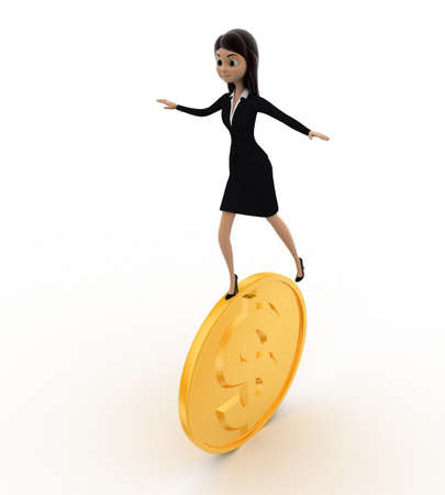 balancing: 3d woman balancing and rolling on golden coin concept on white background, side angle view