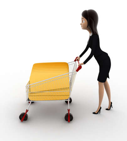 woman shopping cart: 3d woman with shopping cart and cards concept on white background, side angle view Stock Photo