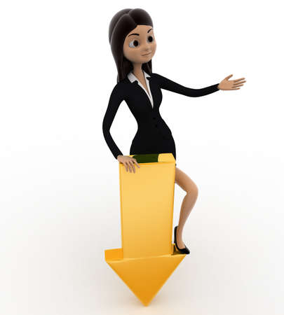 represent: 3d woman down golden arrow to represent donwload concept on white background, top angle view Stock Photo