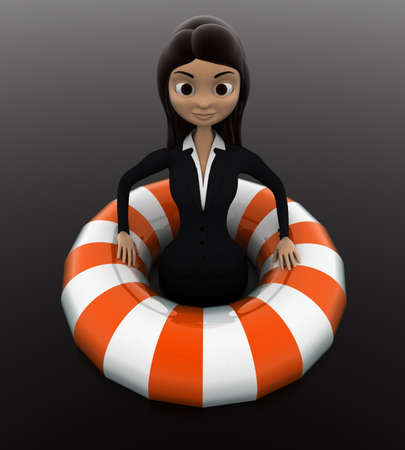 float tube: 3d woman float with life saver floating tube concept on white background, front angle view