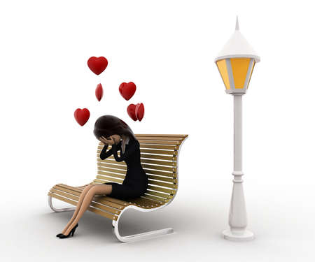 woman side view: 3d woman sitting on batch and in love with hearts flying concept on white background, side angle view Stock Photo