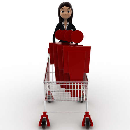going for it: 3d woman going for shopping with cart and puppet in it concept on white background, front angle view