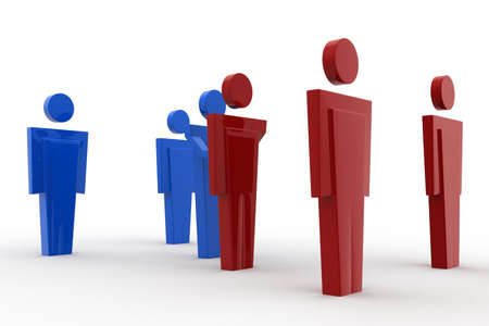 meet: 3d men meet concept on white background, front angle view