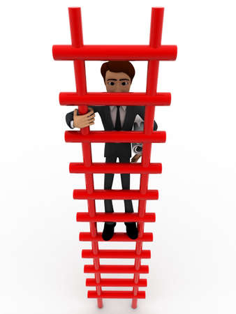 climbing stairs: 3d man climbing stairs with paper scroll concept on white background, front angle view Stock Photo