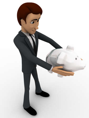 piggybank: 3d man holding piggybank in hand concept on white background, side angle view