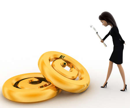 examine: 3d woman examine copyrights golden symbol concept on white background, side angle view