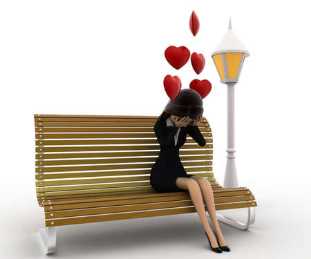 batch: 3d woman sitting on batch and in love with hearts flying concept on white background, front angle view
