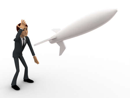 looking at view: 3d man in stress and looking at flying rocket missile concept on white background, front side angle view