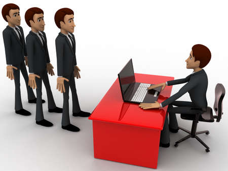 which: 3d man taking interview to many person which are in queue concept on white background,  side angle view