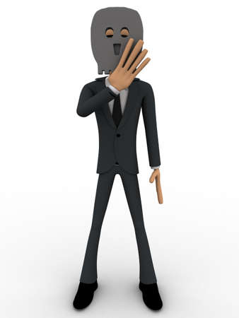 behind: 3d man hide face behind mask concept on white background, front side angle view