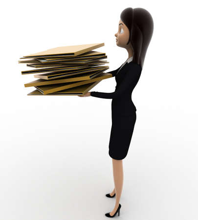 file folders: 3d woman holding lots of file folders in hand concept on white background, side angle view