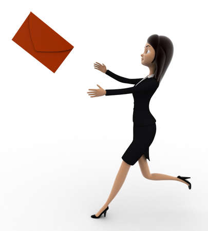 woman side view: 3d woman running after mail message concept on white background,  side angle view