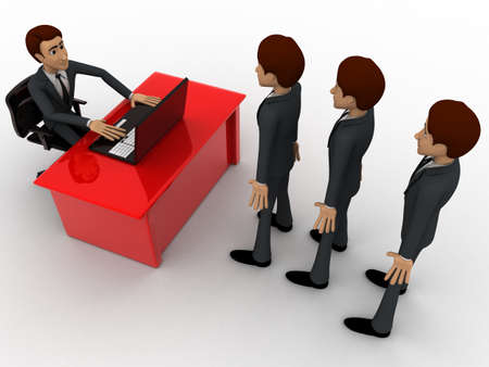 which: 3d man taking interview to many person which are in queue concept on white background, top angle view