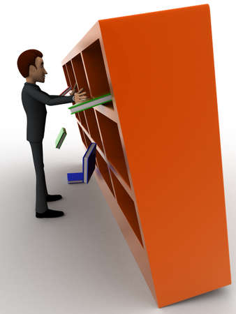under view: 3d man under falling books and book shelf concept on white background, side angle view Stock Photo