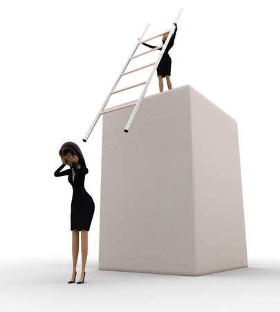 woman stairs: 3d woman hit another woman with stairs from height concept on white background, front angle view