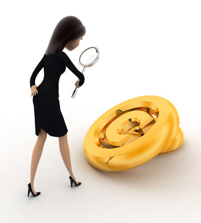 copyrights: 3d woman examine copyrights golden symbol concept on white background, back angle view