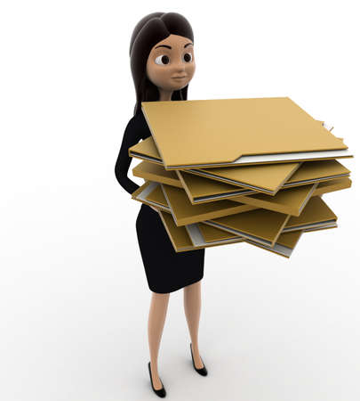 lots: 3d woman holding lots of file folders in hand concept on white background, front angle view