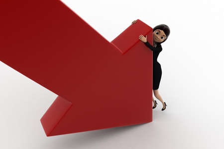 to try: 3d woman try to hold falling arrow graph concept on white background, top angle view
