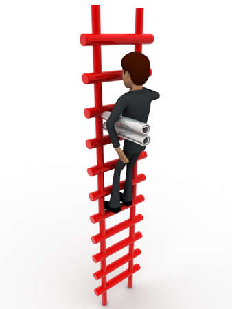 climbing stairs: 3d man climbing stairs with paper scroll concept on white background, side angle view