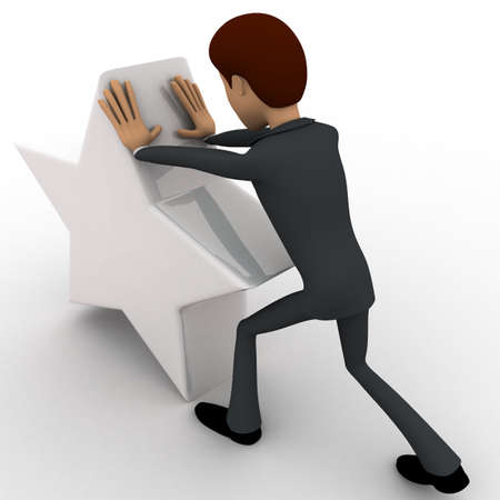 man pushing: 3d man pushing white star concept on white background, back angle view