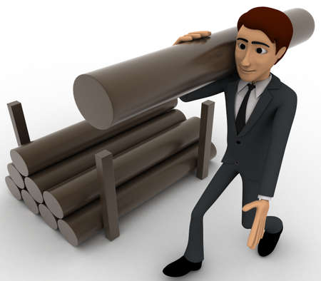 man side view: 3d man carry big wooden trunk on shoulder concept on white background, side angle view Stock Photo