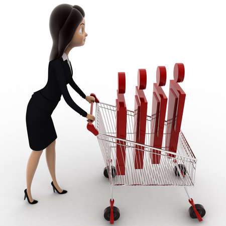 going for it: 3d woman going for shopping with cart and puppet in it concept on white background, side angle view Stock Photo