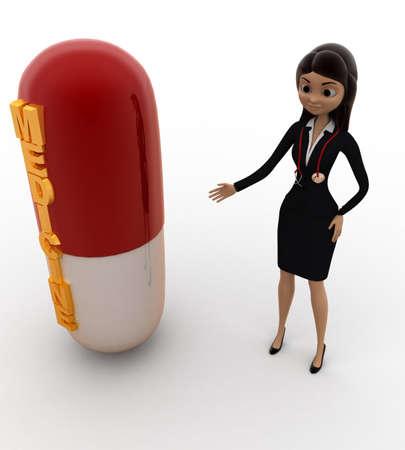 top angle view: Mujer 3D con c�psula de medicina concepto sobre fondo blanco, �ngulo de vista superior