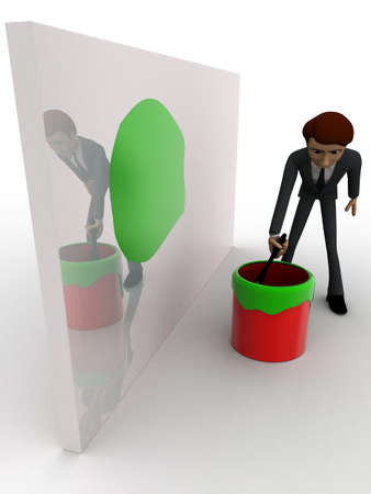 man painting: 3d man painting green on wall using brush and paint bucket concept on white background, side angle view