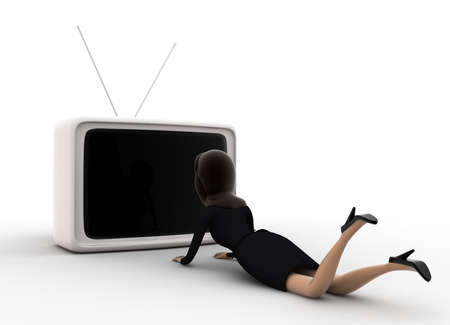 watching 3d: 3d woman lying on floor and watching tv concept on white background, front angle view