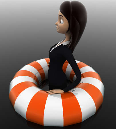float tube: 3d woman float with life saver floating tube concept on white background, side angle view Stock Photo