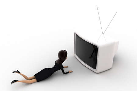 woman watching tv: 3d woman lying on floor and watching tv concept on white background, top angle view