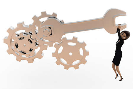 tightening: 3d woman tightening nut and gears using mechanical wrench concept on white bakcground, front angle view